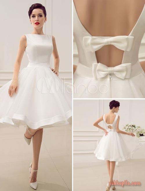 Короткое свадебное платье необычное в