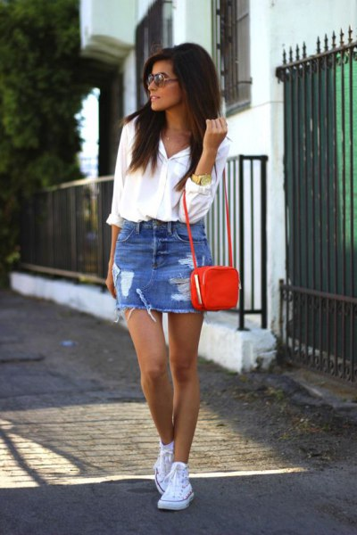 С чем носить джинсовую юбку: 26 образов
