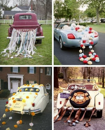 Современное украшение свадебных машин
