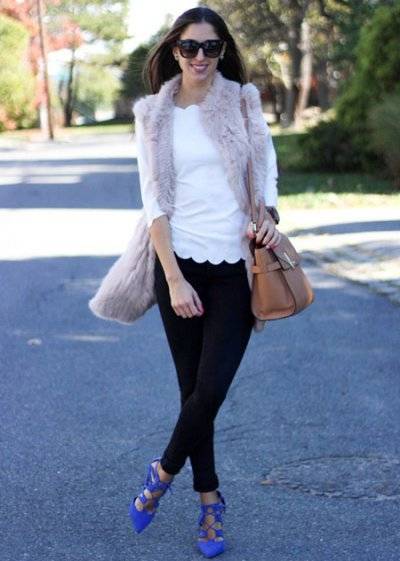 С чем носить меховой жилет: 25 стильных образов