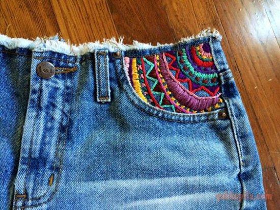 Вышивка на брюках своими руками